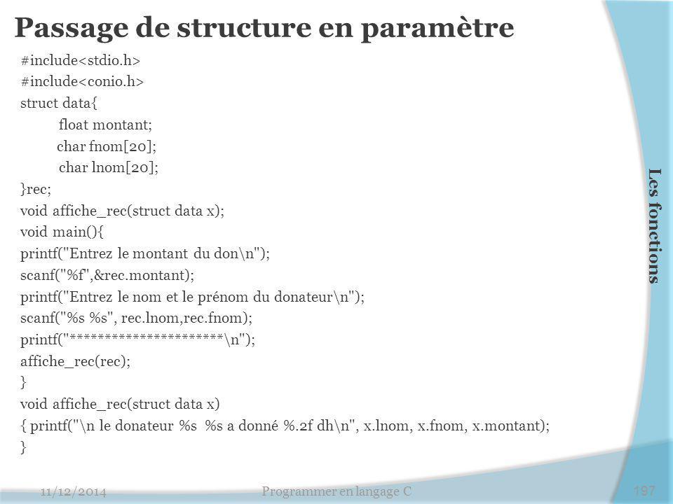 Passage de structure en paramètre