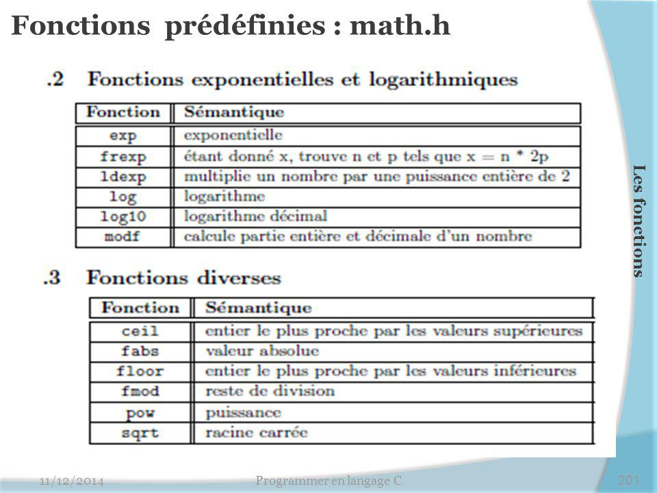 Fonctions prédéfinies : math.h