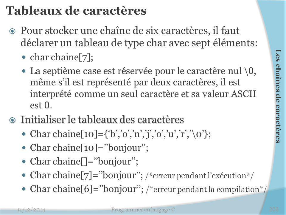 Tableaux de caractères