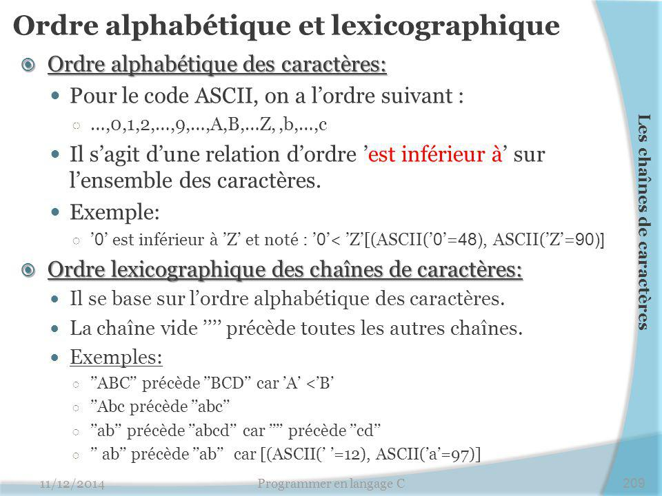 Ordre alphabétique et lexicographique