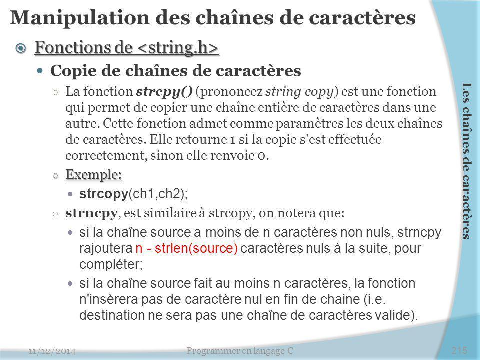 Manipulation des chaînes de caractères
