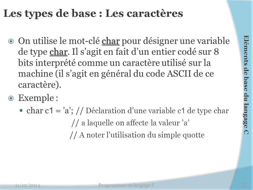 Les types de base : Les caractères