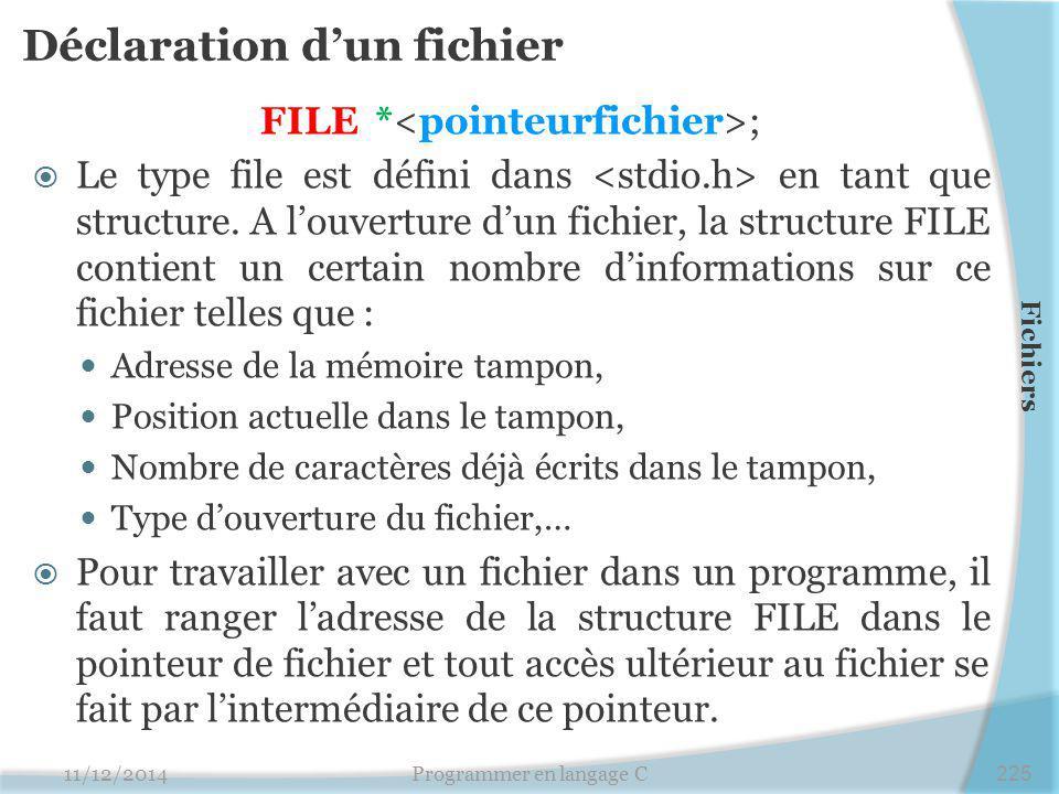 Déclaration d'un fichier