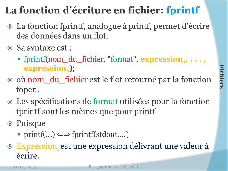La fonction d'écriture en fichier: fprintf