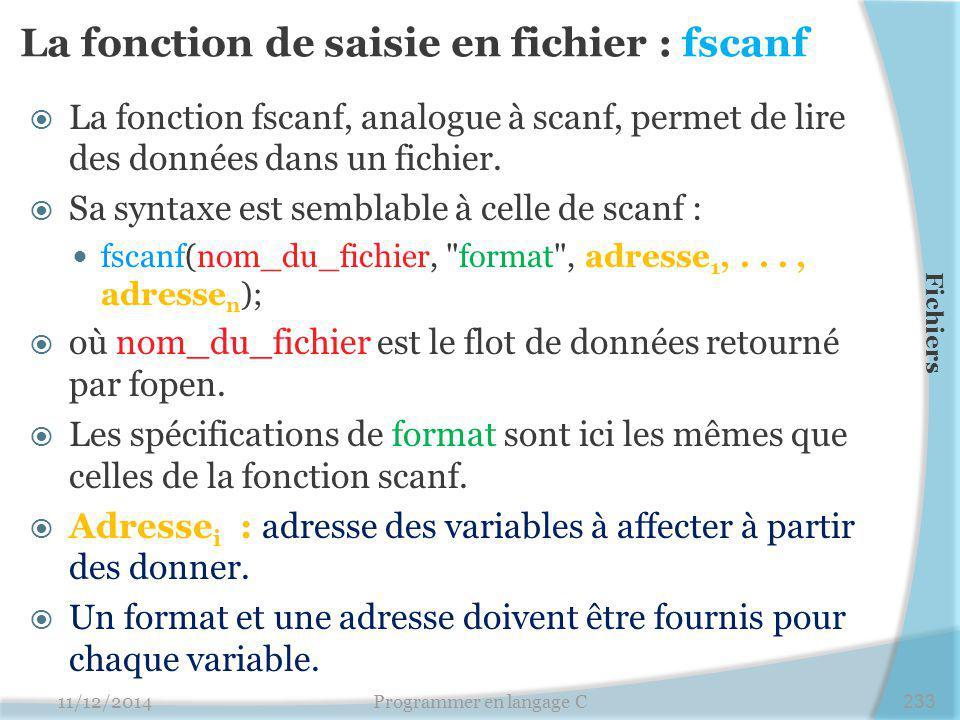 La fonction de saisie en fichier : fscanf