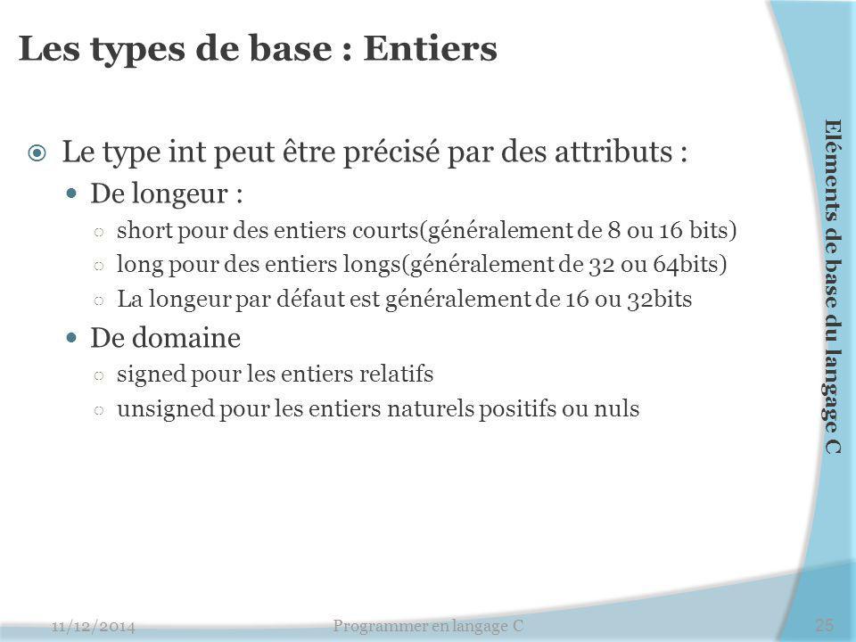 Les types de base : Entiers
