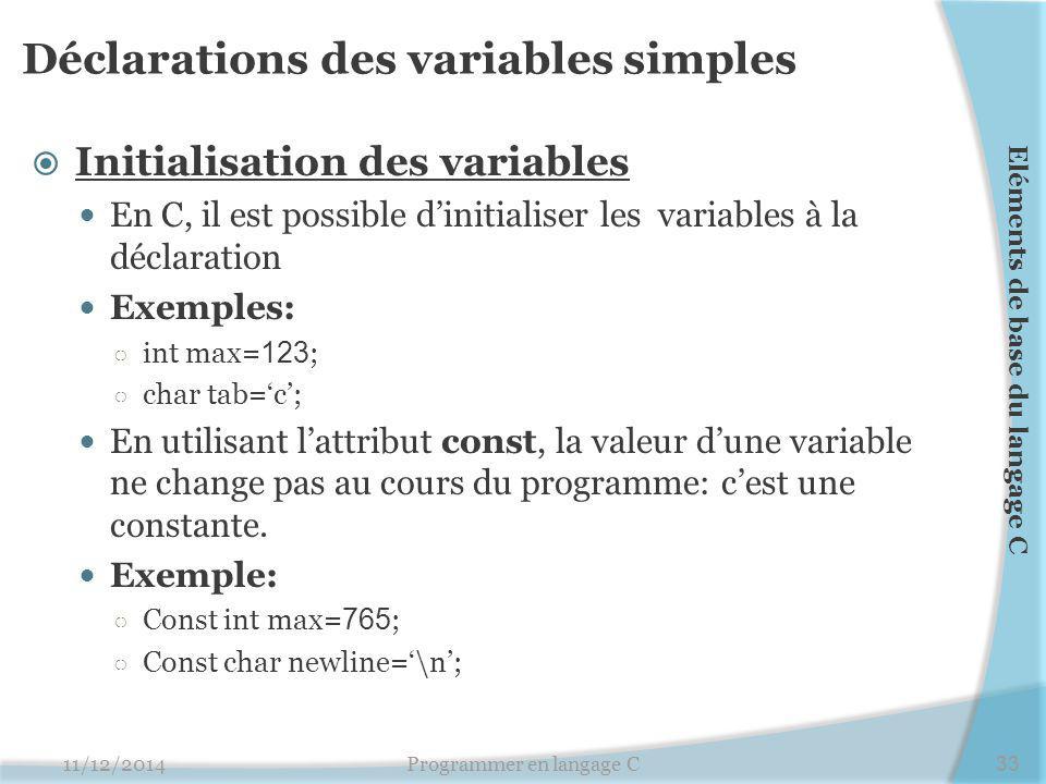 Déclarations des variables simples