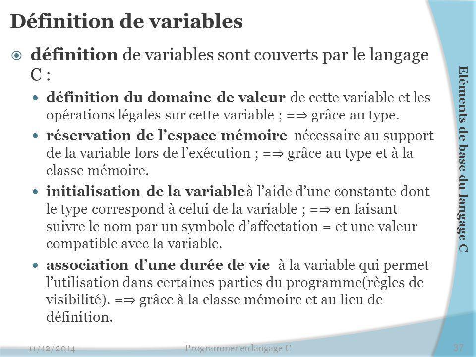 Définition de variables