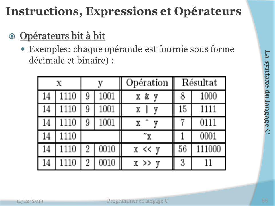 Instructions, Expressions et Opérateurs
