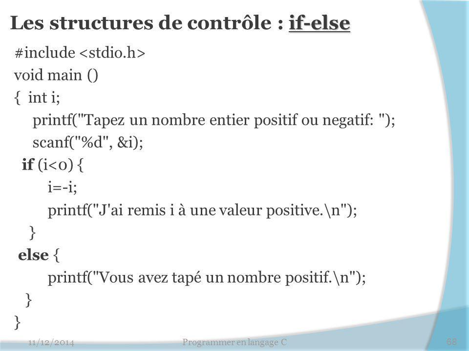 Les structures de contrôle : if-else