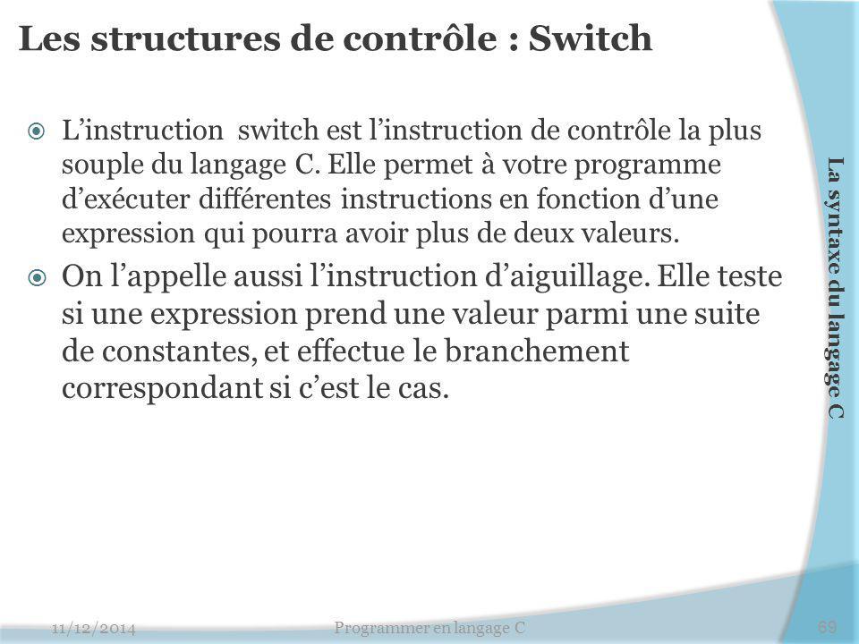 Les structures de contrôle : Switch