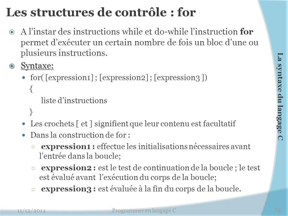 Les structures de contrôle : for