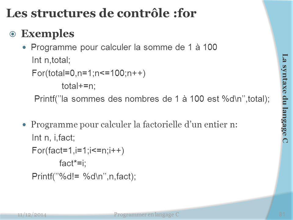 Les structures de contrôle :for