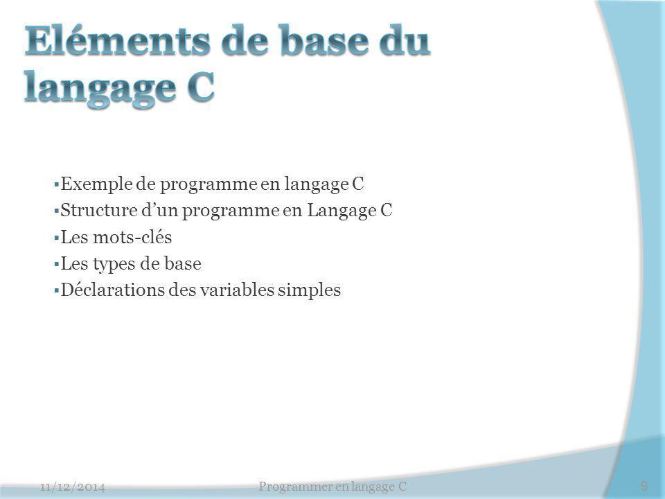 Eléments de base du langage C