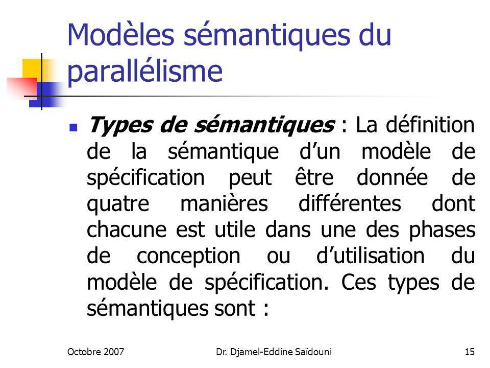 Modèles sémantiques du parallélisme