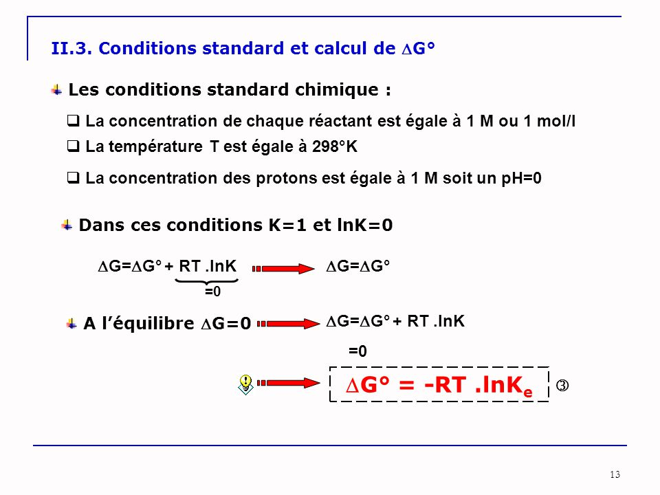 G° = -RT .lnKe II.3. Conditions standard et calcul de G°