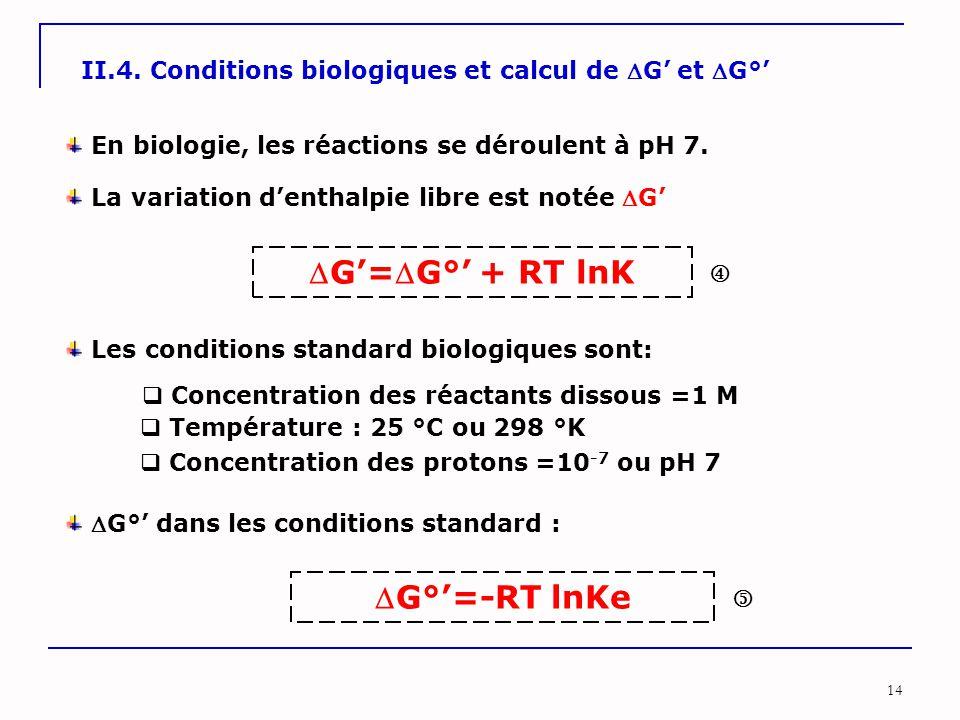 G'=G°' + RT lnK G°'=-RT lnKe