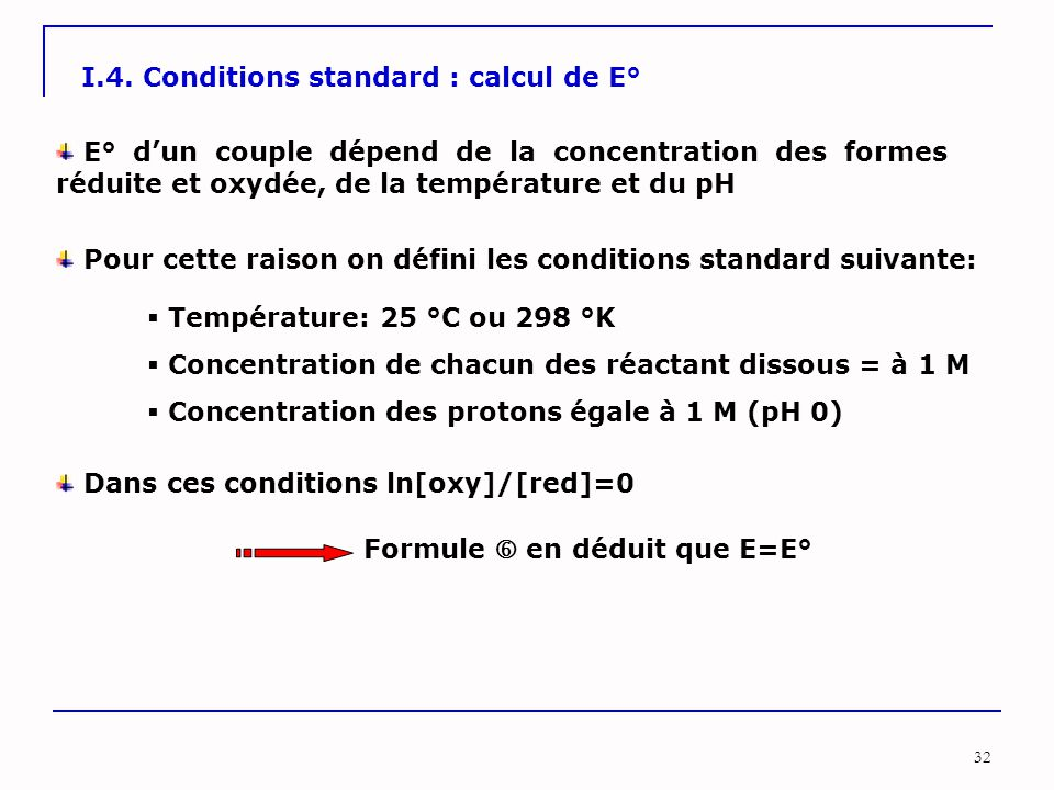 I.4. Conditions standard : calcul de E°
