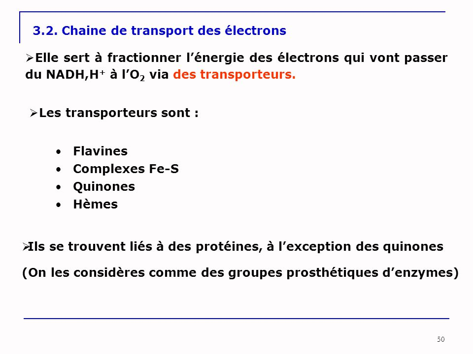 3.2. Chaine de transport des électrons