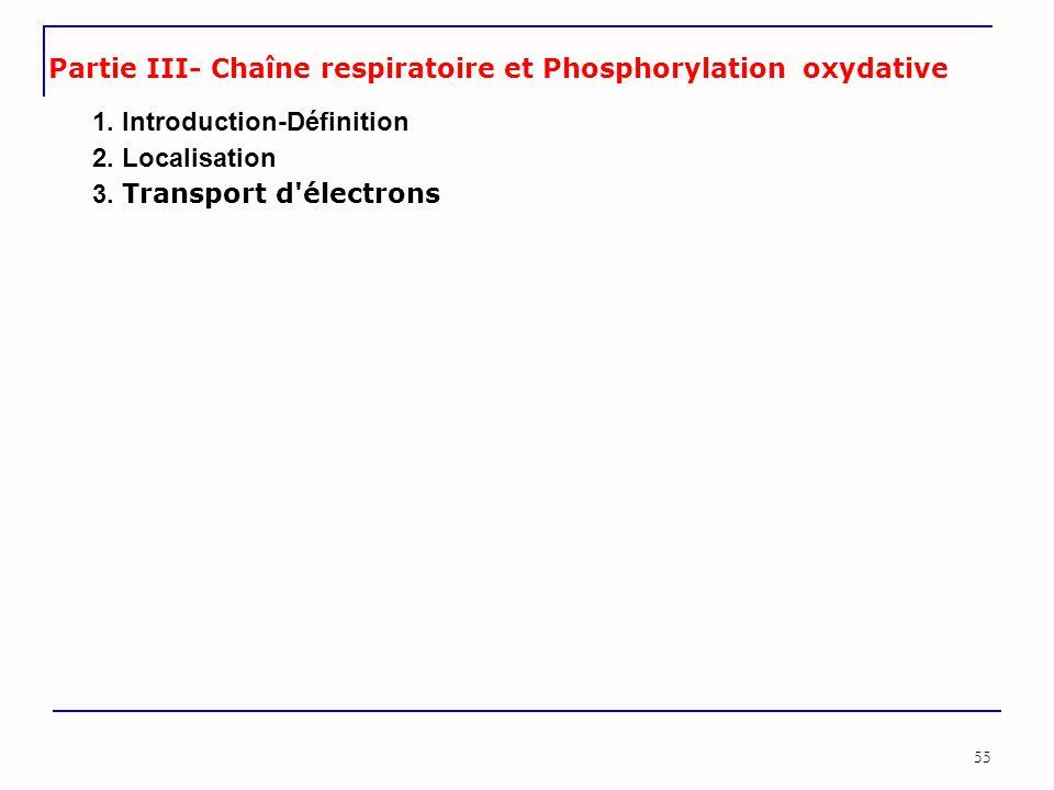 Partie III- Chaîne respiratoire et Phosphorylation oxydative