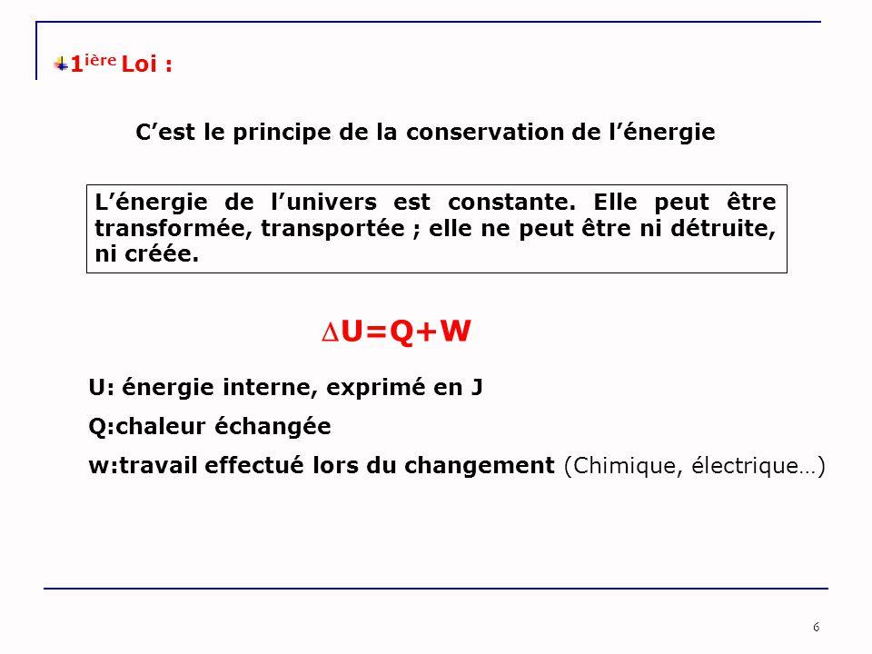 U=Q+W 1ière Loi : C'est le principe de la conservation de l'énergie