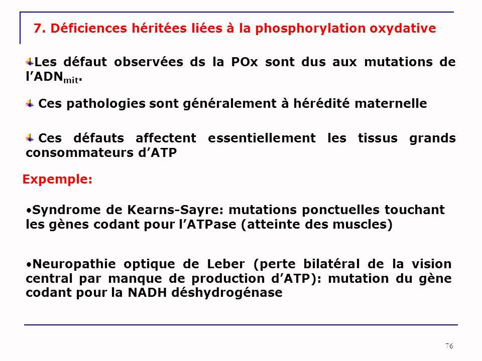 7. Déficiences héritées liées à la phosphorylation oxydative
