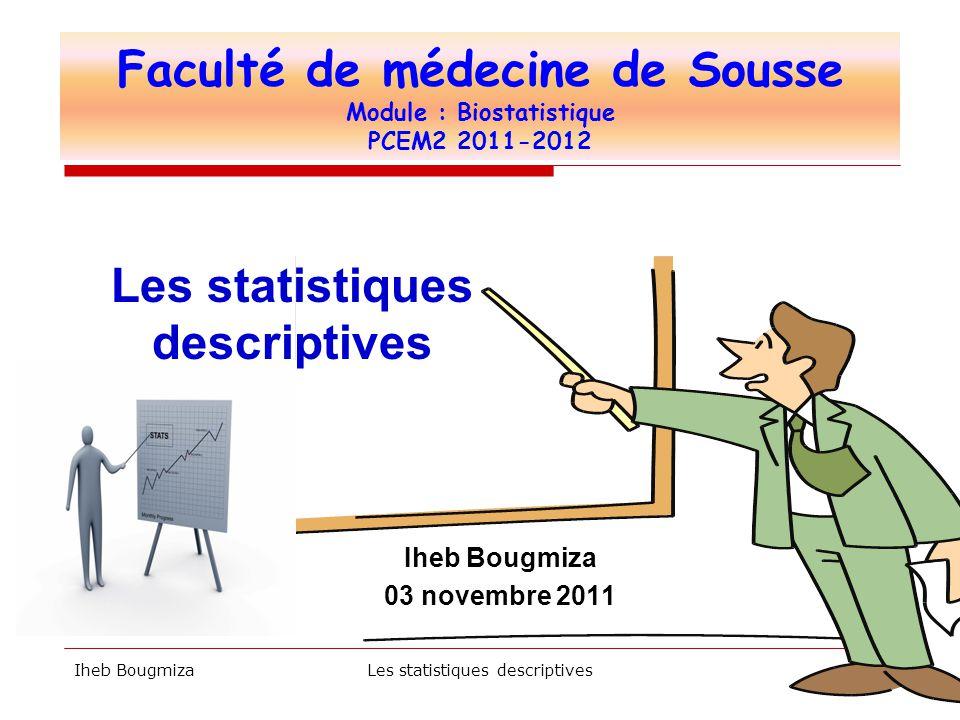 Faculté de médecine de Sousse Module : Biostatistique PCEM2 2011-2012