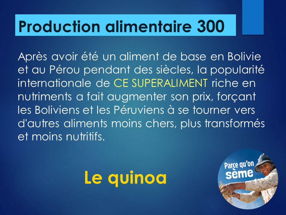 Production alimentaire 300