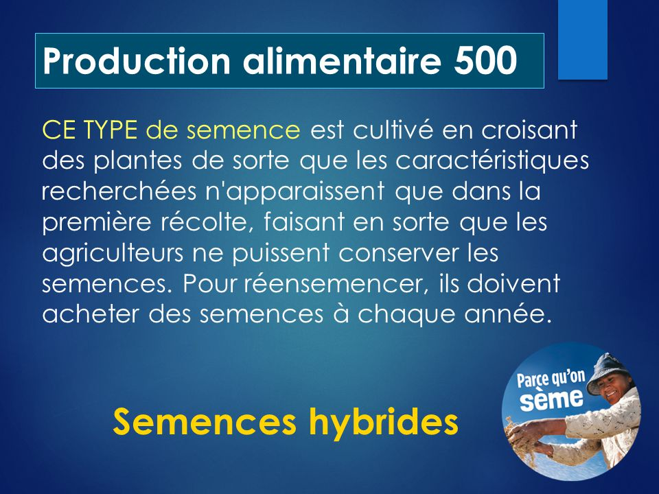 Production alimentaire 500