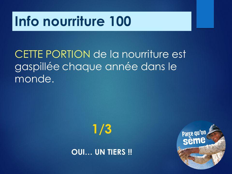 Info nourriture 100 CETTE PORTION de la nourriture est gaspillée chaque année dans le monde.