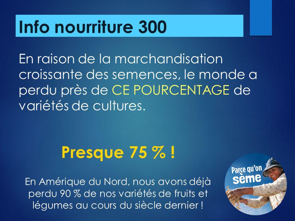 Info nourriture 300 Presque 75 % !