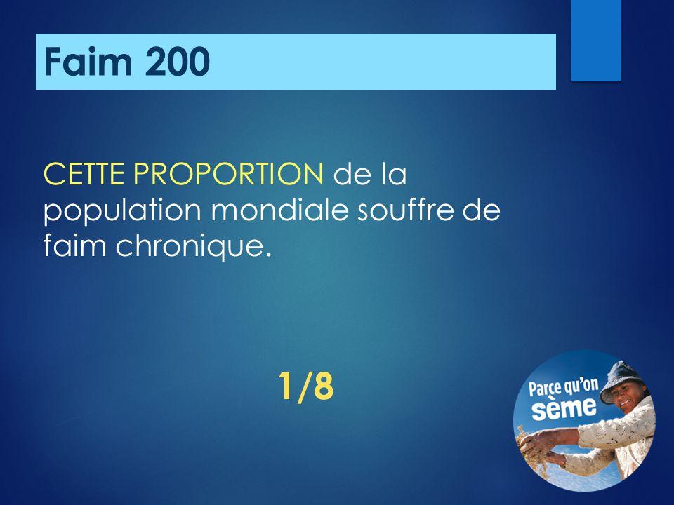 Faim 200 CETTE PROPORTION de la population mondiale souffre de faim chronique. 1/8