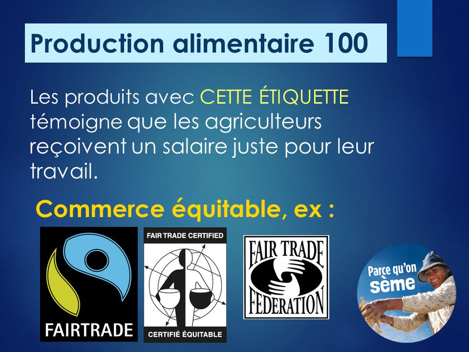 Production alimentaire 100
