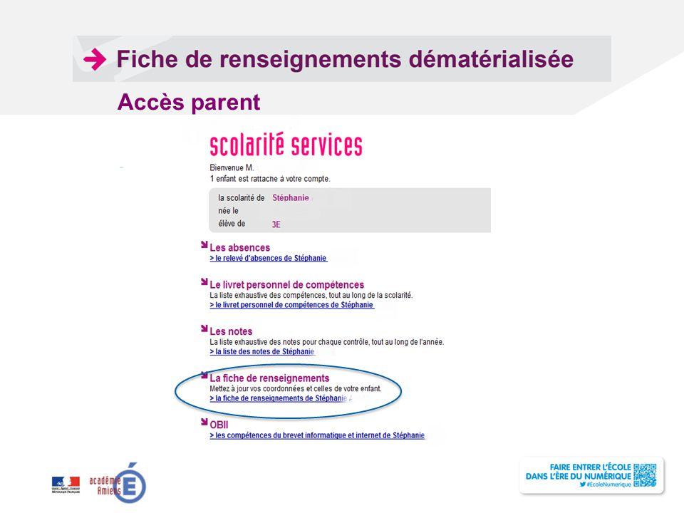 Accès parent Pour personnaliser la date et le pied de page :