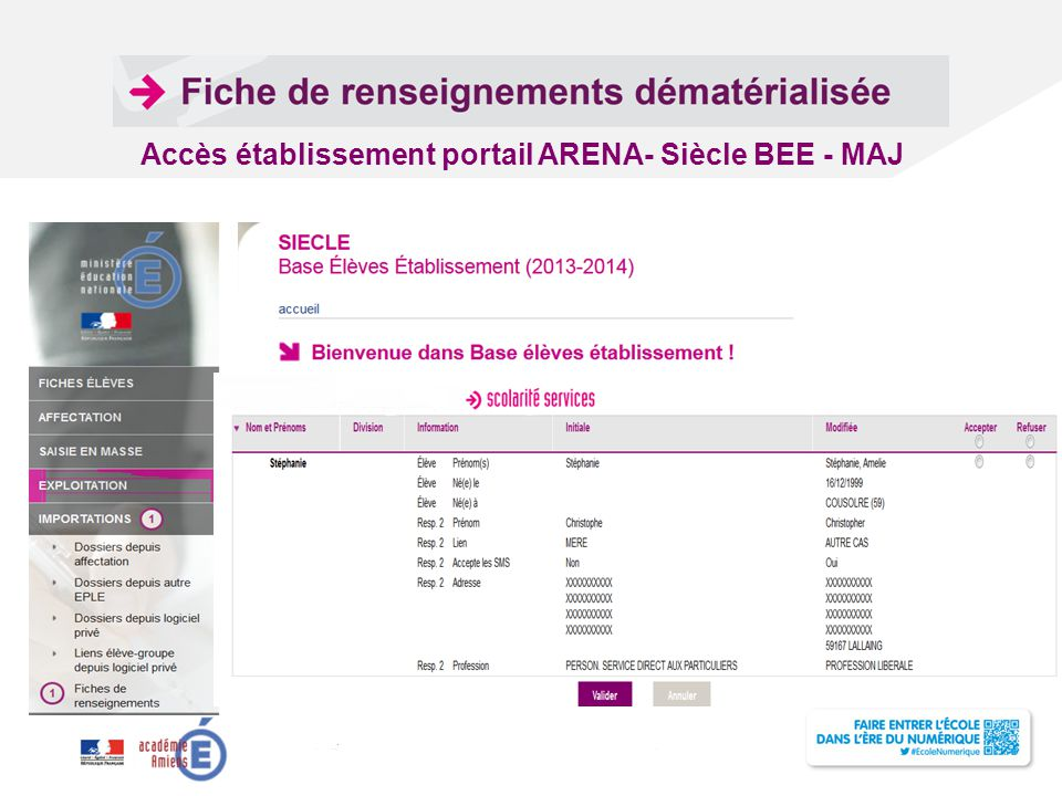 Accès établissement portail ARENA- Siècle BEE - MAJ