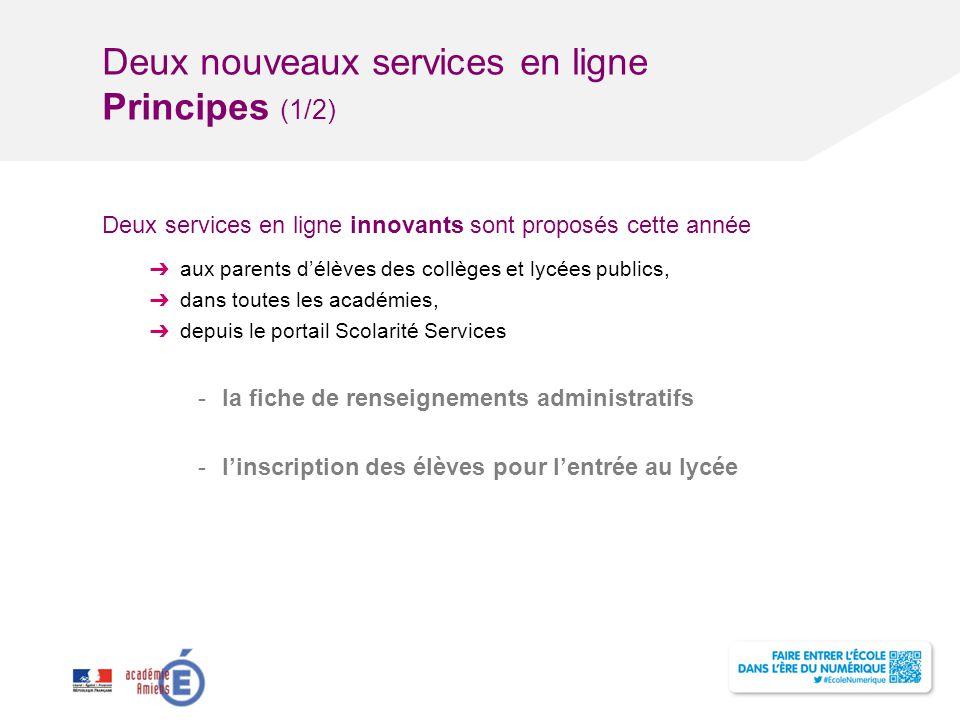 Deux nouveaux services en ligne Principes (1/2)