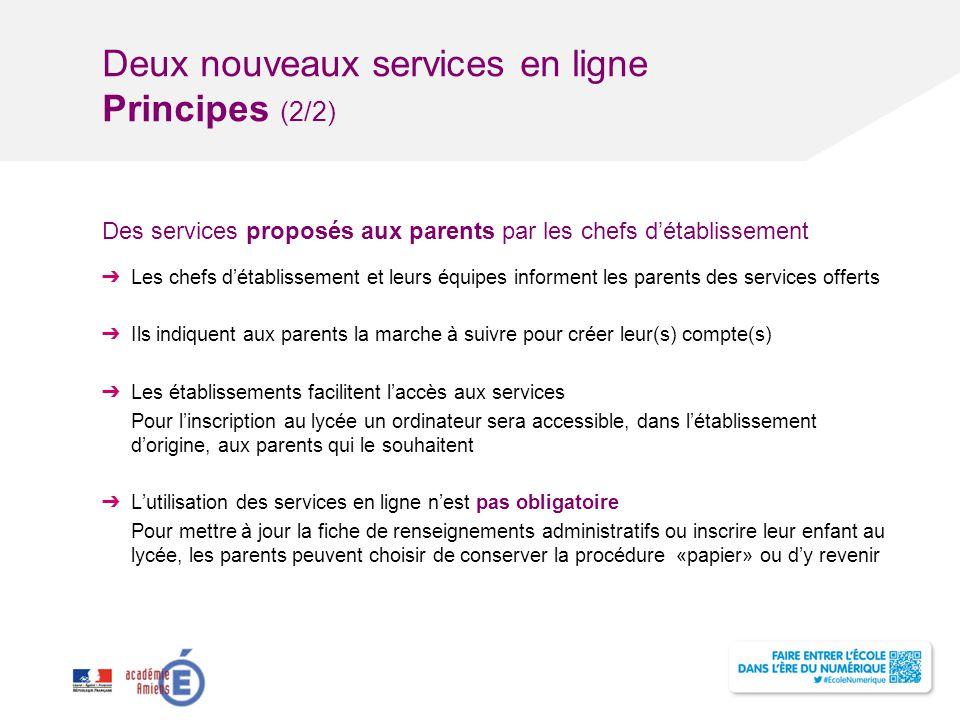 Deux nouveaux services en ligne Principes (2/2)