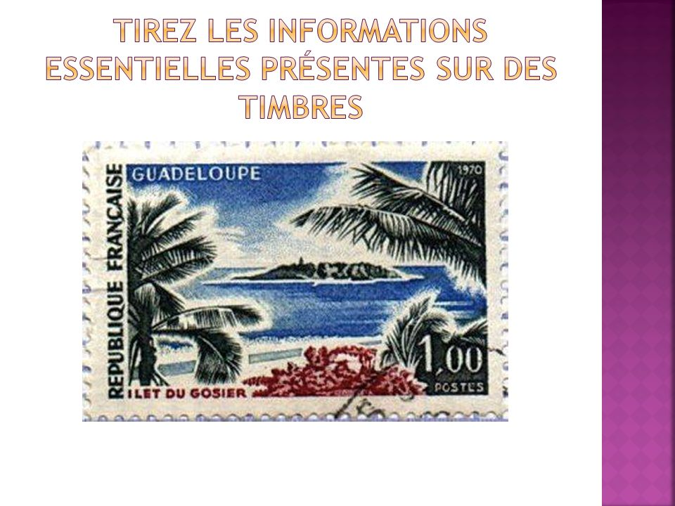 Tirez les informations essentielles présentes sur des timbres