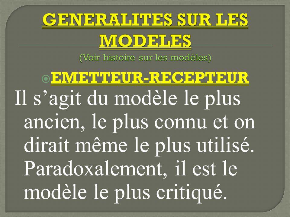 GENERALITES SUR LES MODELES (Voir histoire sur les modèles)