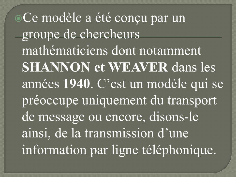 Ce modèle a été conçu par un groupe de chercheurs mathématiciens dont notamment SHANNON et WEAVER dans les années 1940.