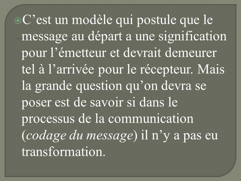 C'est un modèle qui postule que le message au départ a une signification pour l'émetteur et devrait demeurer tel à l'arrivée pour le récepteur.