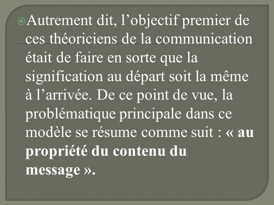 Autrement dit, l'objectif premier de ces théoriciens de la communication était de faire en sorte que la signification au départ soit la même à l'arrivée.