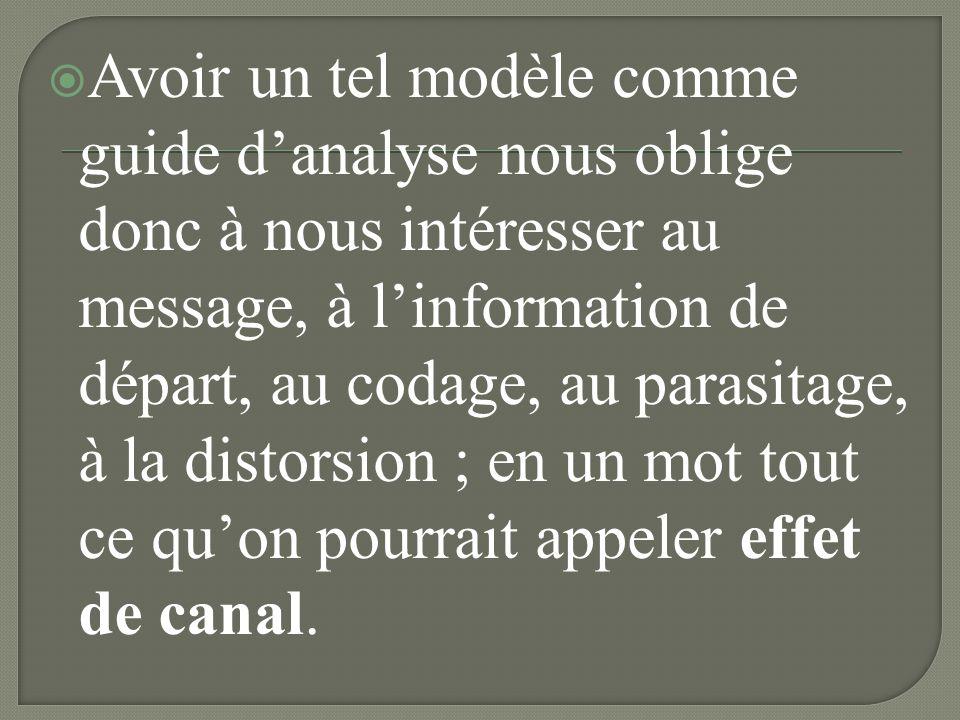Avoir un tel modèle comme guide d'analyse nous oblige donc à nous intéresser au message, à l'information de départ, au codage, au parasitage, à la distorsion ; en un mot tout ce qu'on pourrait appeler effet de canal.