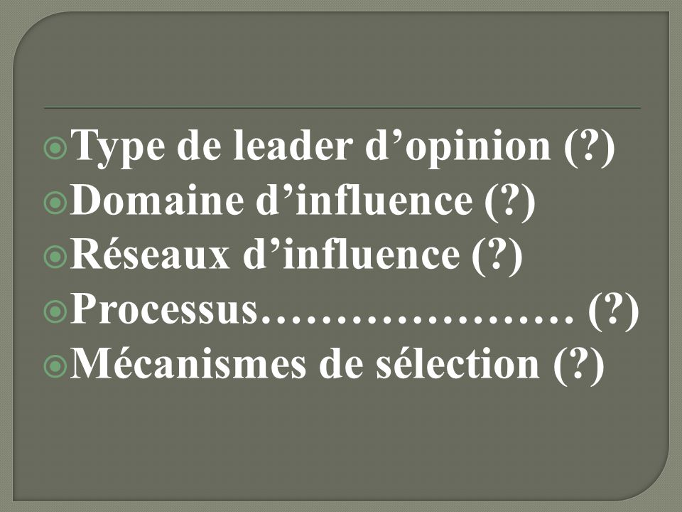 Type de leader d'opinion ( )