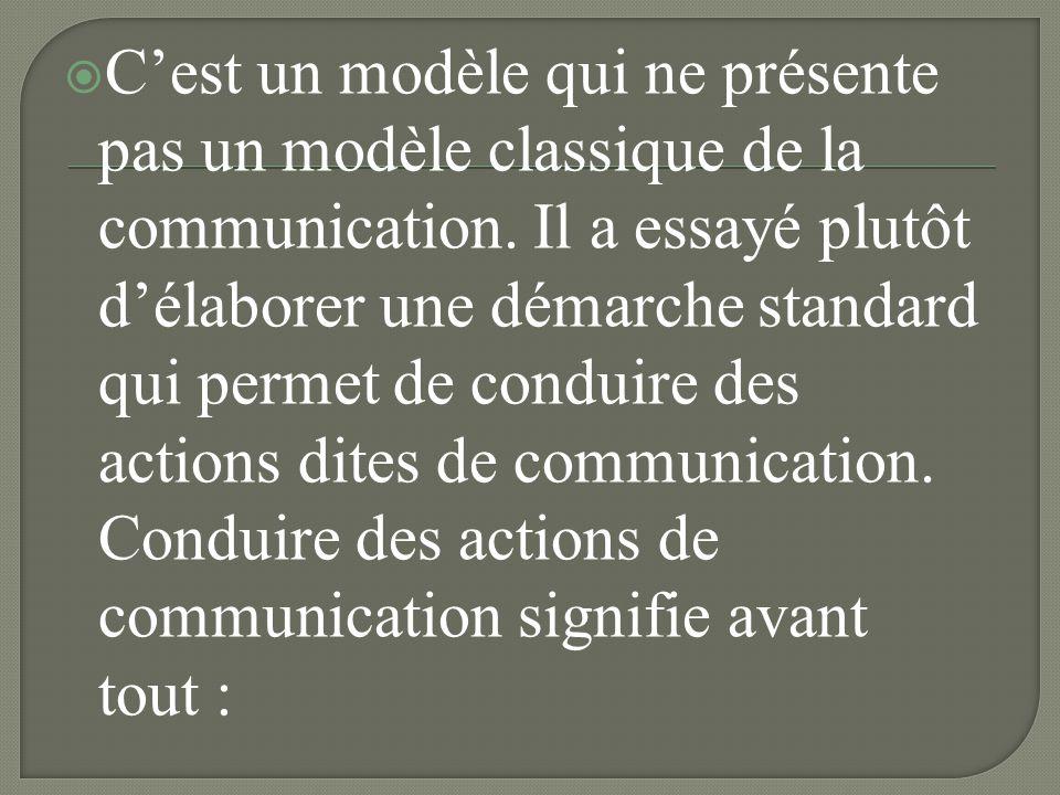 C'est un modèle qui ne présente pas un modèle classique de la communication.