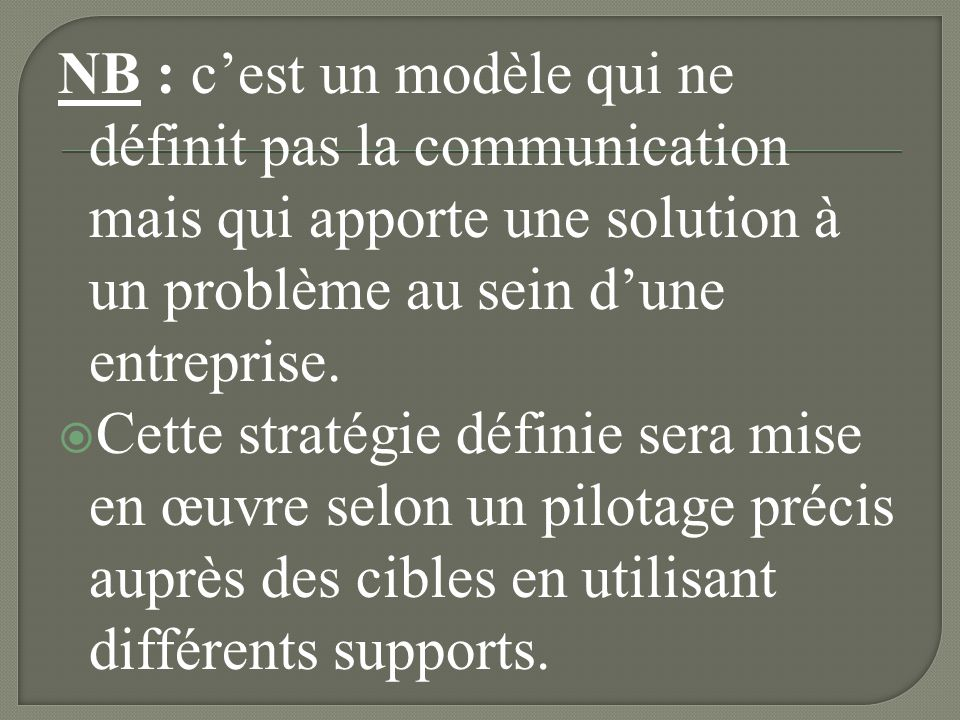 NB : c'est un modèle qui ne définit pas la communication mais qui apporte une solution à un problème au sein d'une entreprise.