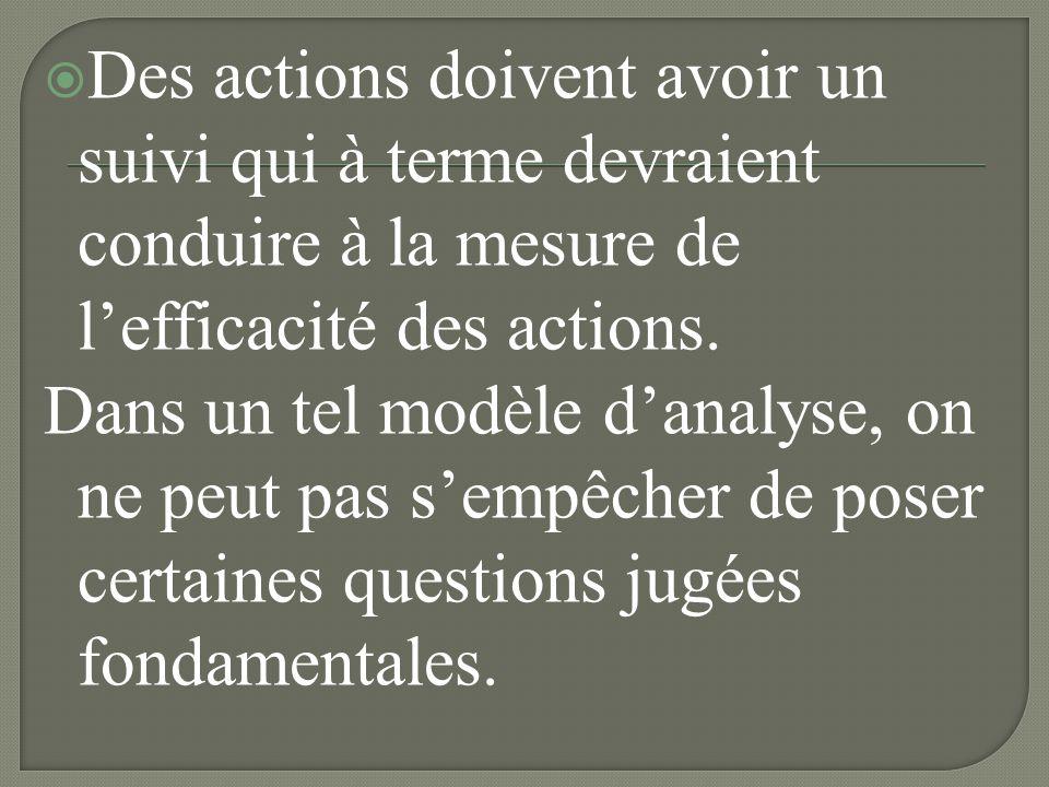 Des actions doivent avoir un suivi qui à terme devraient conduire à la mesure de l'efficacité des actions.