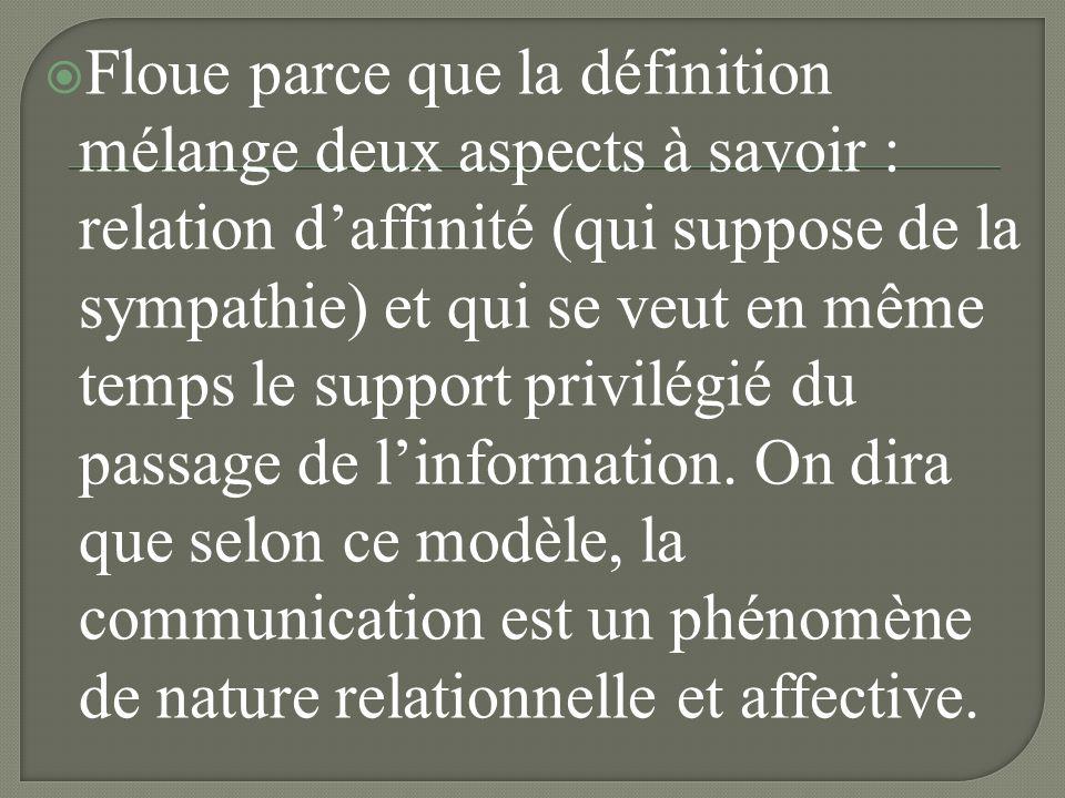 Floue parce que la définition mélange deux aspects à savoir : relation d'affinité (qui suppose de la sympathie) et qui se veut en même temps le support privilégié du passage de l'information.