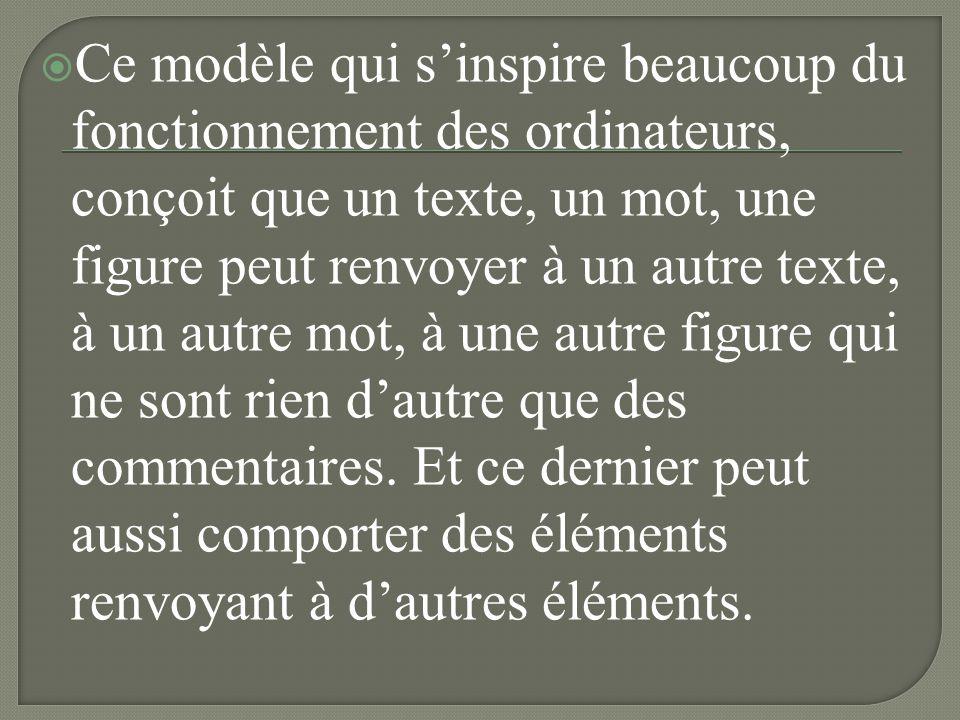 Ce modèle qui s'inspire beaucoup du fonctionnement des ordinateurs, conçoit que un texte, un mot, une figure peut renvoyer à un autre texte, à un autre mot, à une autre figure qui ne sont rien d'autre que des commentaires.