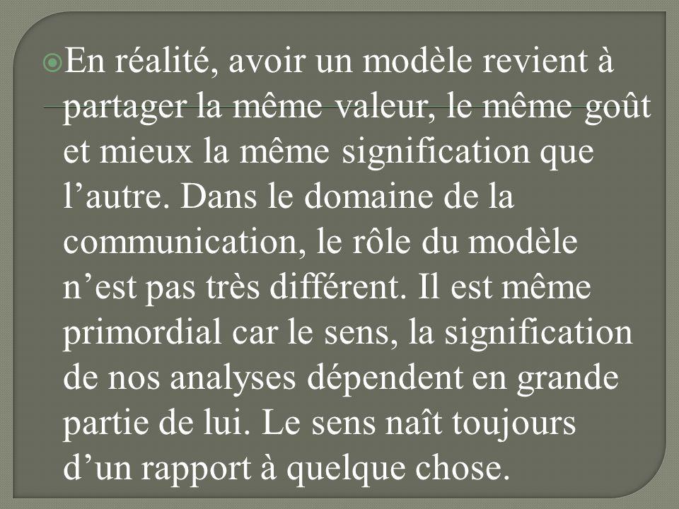 En réalité, avoir un modèle revient à partager la même valeur, le même goût et mieux la même signification que l'autre.